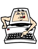 computer cartoon reaching for keyboard